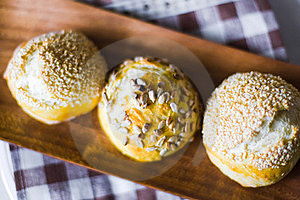 Three Buns With Seeds Royalty Free Stock Photo - Image: 23622265