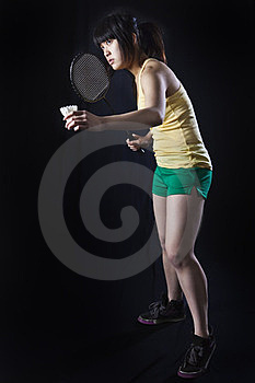 Asian Woman With Badminton Racket Royalty Free Stock Image - Image: 23624376