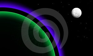 Planet With Aurora And Moon Stock Photos - Image: 23631483