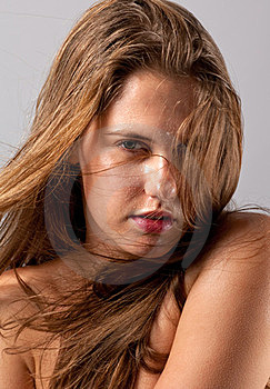 Wet Woman With Blowing Hair Royalty Free Stock Images - Image: 23631919