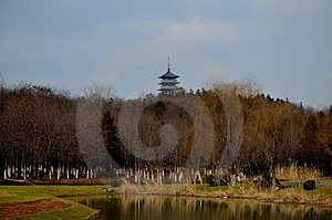 Tower And The Lake Stock Image - Image: 23636561