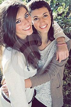 Two Joyful Sisters Royalty Free Stock Image - Image: 23637146
