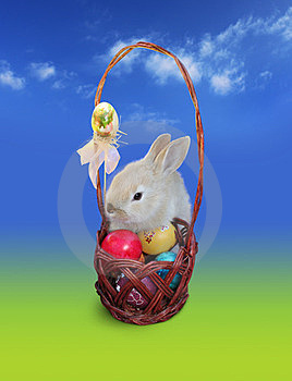Easter Bunny  With Eggs Basket, Sky Royalty Free Stock Photography - Image: 23642267