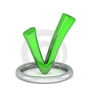 3d green tick sign Royalty Free Stock Image