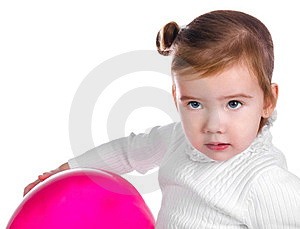 Portrait Of Cute Little Girl  With Balloon Stock Image - Image: 23660281