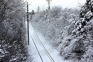 Snow-Covered Trolley Tracks Royalty Free Stock Image - Image: 23672146
