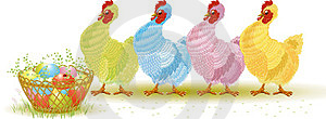 Four Hens With Easter Eggs Royalty Free Stock Image - Image: 23673966