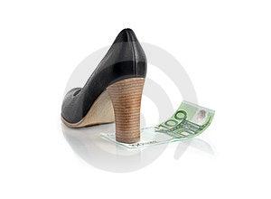Money Female Shoe Royalty Free Stock Images - Image: 23681309