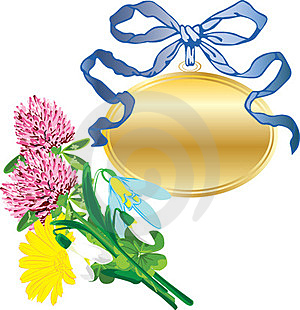 Banner As A Pendant And A Bouquet Of Flowers Stock Images - Image: 23689924