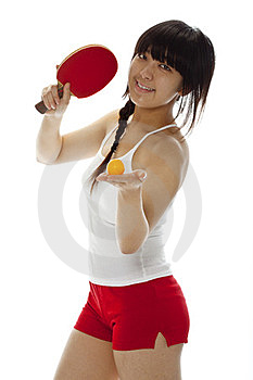 Young Asian Woman With A Ping-pong Racket Royalty Free Stock Photos - Image: 23694668