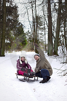 Happy Father Pointing Finger Daughter, Outdoors Stock Photos - Image: 23695043