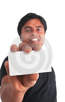 Indian Young Male Holding Business Card Royalty Free Stock Photo - Image: 23698655