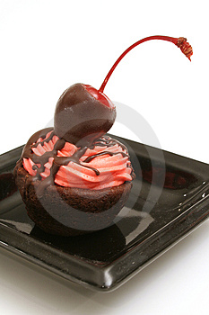 Cherry Topped Brownie Bite  Royalty Free Stock Photography - Image: 2373857