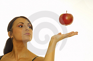 Healthy girl and apple Royalty Free Stock Images