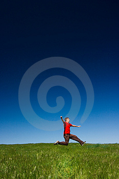 Happy man jumping Stock Image