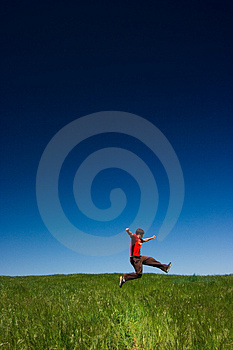 Happy man jumping Free Stock Photography