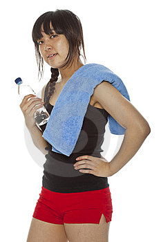 Asian Girl With Towel And Bottle Of Water Royalty Free Stock Images - Image: 23705779