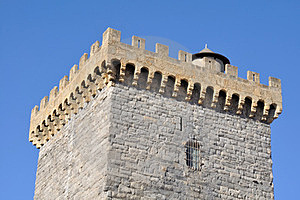 Battlements Of A Square Tower Royalty Free Stock Photos - Image: 23707568