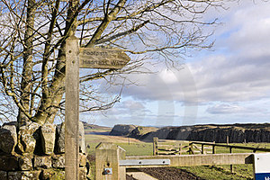 Hadrians Wall Sign Post Stock Photography - Image: 23714262