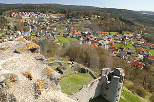 View On A Town And A Castle Ruin Stock Photo - Image: 23729970