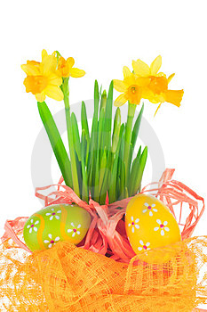 Easter Eggs And Spring Narcissus (daffodil) Stock Photography - Image: 23731072