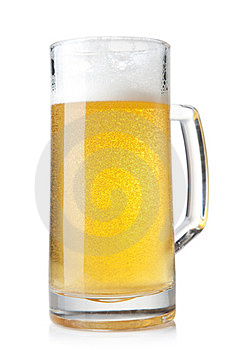 Beer Into Glass On A White Background Royalty Free Stock Photography - Image: 23763877