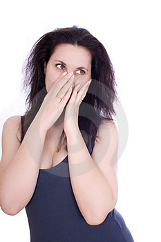 Scared Woman Hiding Herself In Her Hands Stock Photo - Image: 23774700