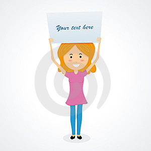 Young Girl Holding Signboard Stock Photo - Image: 23779160