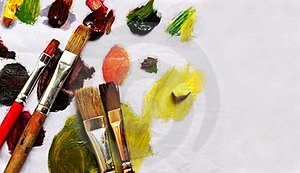 Paint Brushes And Different Paint Pigments Royalty Free Stock Image - Image: 23780486