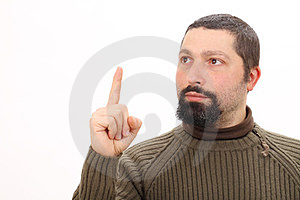 Portrait Of A Man Pointing Up Royalty Free Stock Photos - Image: 23799298