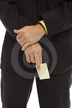 Businessman Holds A Note Stock Image - Image: 2386261