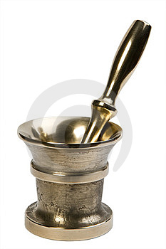 Brass Mortar & Pestle Set Royalty Free Stock Photography - Image: 23840657