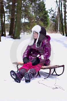 Unhappy Kid Girl Alone In Winter Forest Stock Images - Image: 23848884