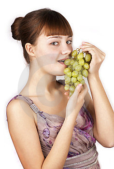 Red Pretty Woman Eating Grapes Isolated Stock Photo - Image: 23869040