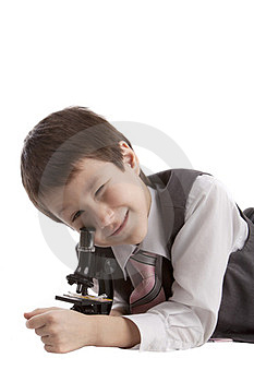 Boy With A Microscope Stock Photo - Image: 23869500