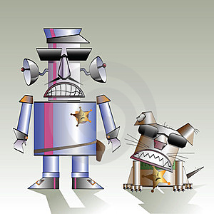Robot And The Dog Royalty Free Stock Image - Image: 23877846