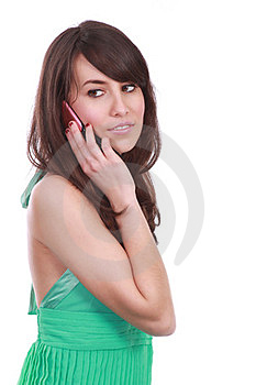 Pretty Young Woman At The Phone Royalty Free Stock Images - Image: 23883109