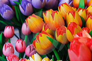 Colorful Wooden Tulips Royalty Free Stock Images - Image: 23888639