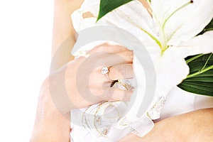 Hand Of A Bride With Ring And Flowers Stock Photography - Image: 23888672