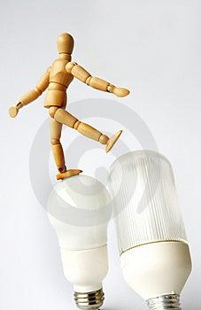 Stock Photo - Mannequin on lightbulb