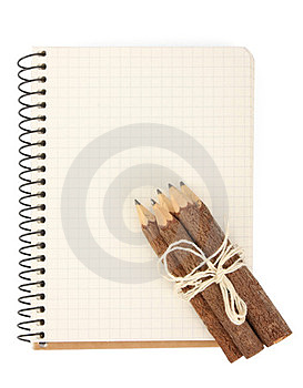 Notebook And Pencils On White Royalty Free Stock Image - Image: 23910786