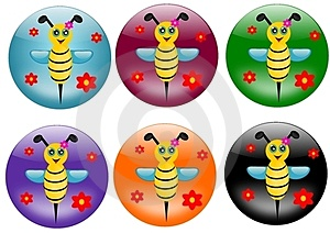 Bees Buttons Royalty Free Stock Photos - Image: 23933128