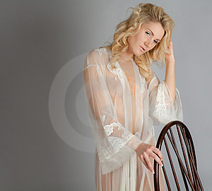 Blond Woman In Sheer Dressing Gown Stock Photography - Image: 23936412