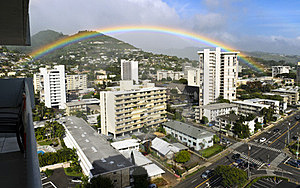 Rainbow Over Honolulu Stock Image - Image: 23942601