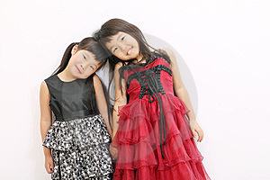 Little Asian Girls Wearing Dress Stock Photos - Image: 23943093