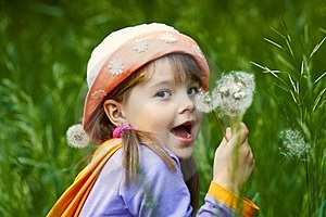 Funny Girl With Dandelions Stock Photos - Image: 23966903