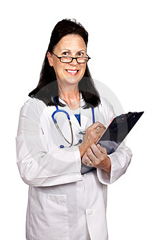 Female Mature Doctor Smiling Holding Clipboard Stock Images - Image: 23968114