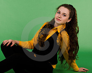 Portrait Of Sitting Beautiful  Brunette Woman Royalty Free Stock Photo - Image: 23988515