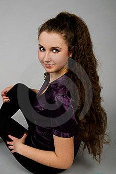 Portrait Of Sitting Beautiful  Brunette Woman Royalty Free Stock Photography - Image: 23988517