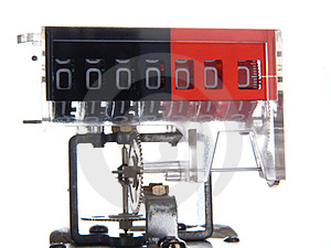 The Mechanism Of A Mechanical Counter With Gears. Royalty Free Stock Photography - Image: 23989027